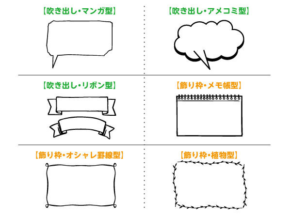 手書きPOP|吹き出し|飾り枠