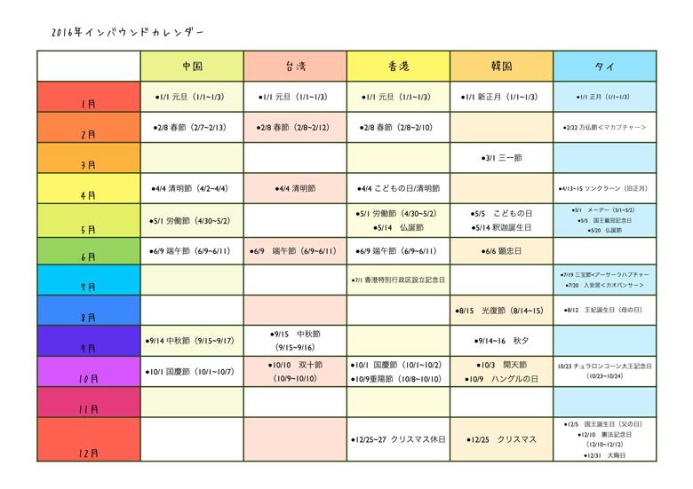 2016年インバウンドカレンダー