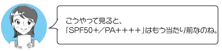 こうやって見ると、 「SPF50+/PA++++」はもう当たり前なのね。