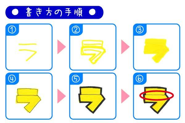 手書きPOP袋文字「ラ」の書き方とポイント