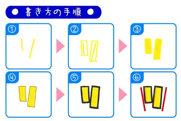手書きPOP袋文字「リ」の書き方とポイント