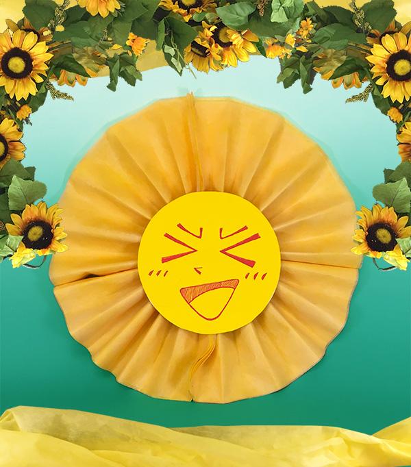 不織布で作る売り場装飾「太陽サン」